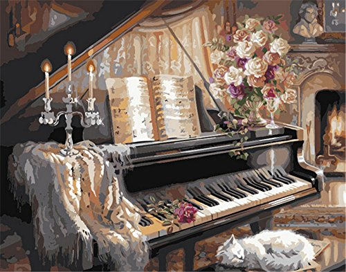 Paint by Number Kit 20*16 Inch--Piano& Cat (Frameless)