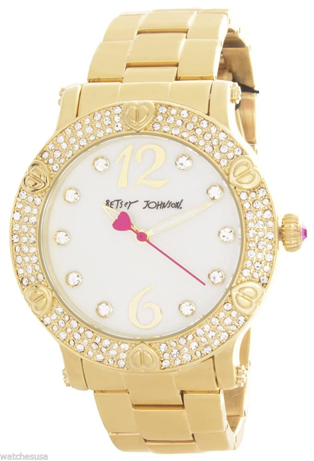 BETSEY JOHNSON BOYFRIEND PEARL DIAL GOLD-TONE WATCH BJ00229-02