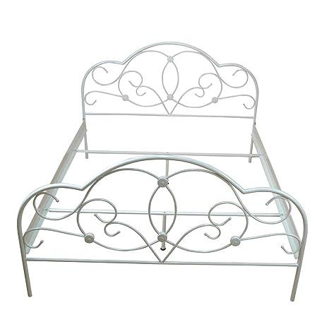 Bett in Creme Weiß Stahl Breite 145 cm Tiefe 205 cm Liegefläche 140x200 Pharao24