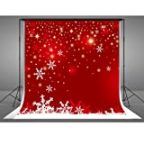 8x8ft Winter Backdrops Photography Cotton Cloth Christmas Photo Booth Backdrop White Snowflake Red Background Parties (Color: Winter Red, Tamaño: 8x8ft)