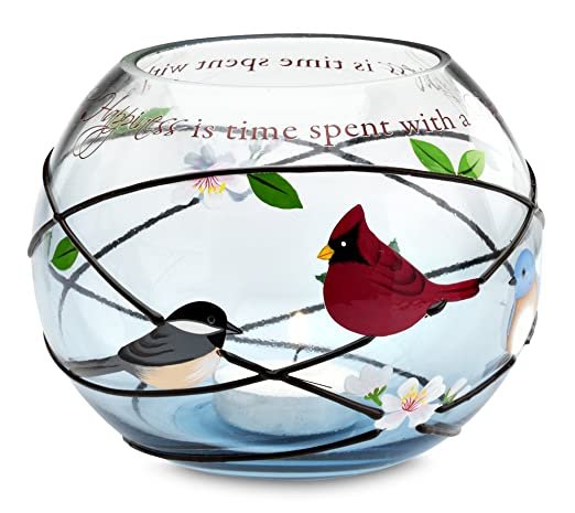 Christmas Tablescape Decor - Peace, Love and Birds Cardinal and Chickadee Bird Design on Round Glass Candle Holder by Pavilion