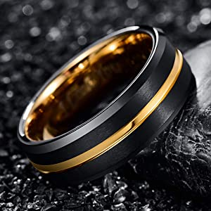 NUNCAD Tungsten Carbide Ring Men Women Wedding Band Engagement Ring 8mm Comfort Fit Engraved  I Love You Size 11.5 (Color: Black+Gold)