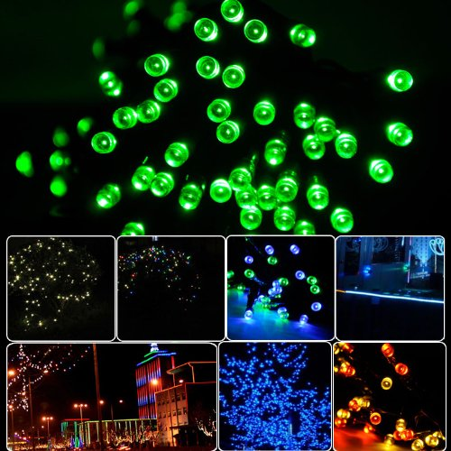 Lycheers Solar Christmas String Solar Fairy String Lights For Outdoor Room Garden Home Christmas Party Decoration Waterproof (Green, 17M 100Leds)