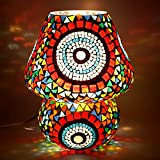 EarthenMetal Handcrafted Colourful Mosaic Decorated Dome Shaped Glass Table Lamp