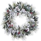 "24"" Flocked American Pine Artificial Christmas Wreath with Red Berries and Pine Cones"