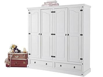 Großer Kleiderschrank MIGUEL mit 3 Turen in weiss lackiert von Loft24 - 58113019