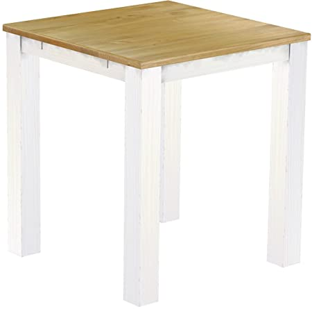 Brasil High Table 'Rio' 100 x 100 cm Solid Pine Wood Colour – White
