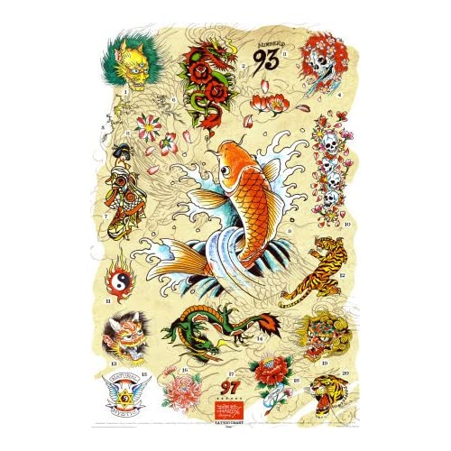 .com: Ed Hardy -Japanese Tattoo Chart Poster Print by Ed Hardy, 24x36