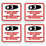 Security Decal - #205 4 Pack Video & Audio Cctv Security Surveillance Camera System Warning Decals Stickers - Commercial Grade . Increase Security Whether You Have a System or Not, No One Will Know but You!
