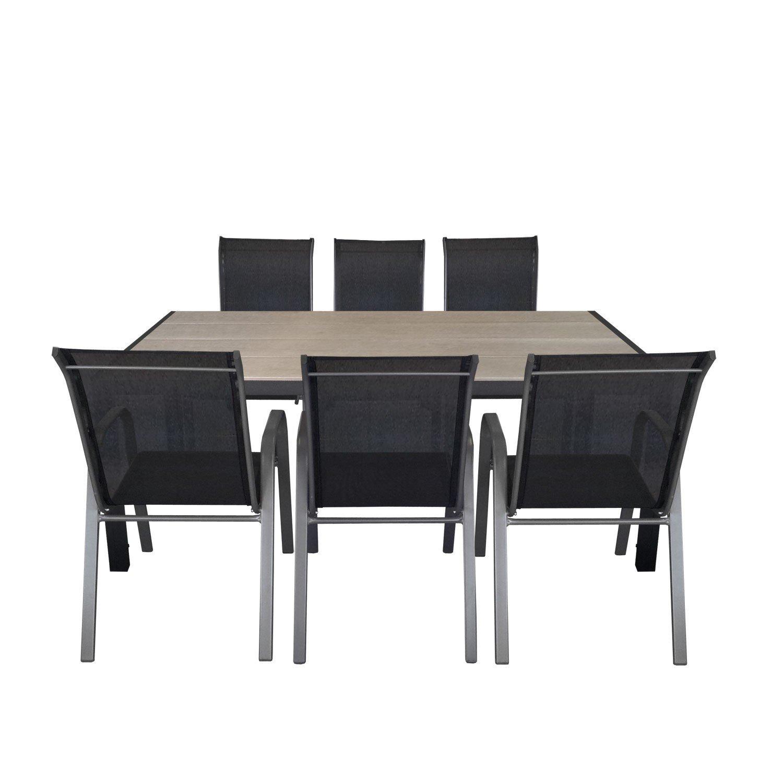 7tlg. Gartengarnitur Aluminium Polywood Gartentisch 205x90cm + stapelbare Gartenstühle Stapelstuhl mit Textilenbespannung Gartenmöbel Terrassenmöbel Sitzgruppe Sitzgarnitur