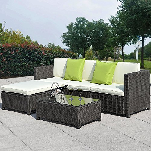 Giantex 5pc Outdoor Patio Sofa Set Sectional Furniture Pe Wicker Rattan Deck Couch Brown