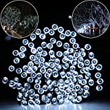 ADDLON 40ft(12m) 100 LED 8work Modes(10-clip included) Christmas Lights - Solar LED String lights - Ambiance Fairy String light for Outdoor - Indoor Decor - Outside Garden - Patio - Home - Wedding party - Holiday Seasonal Decorations - Christmas party - Waterproof(Cool White)