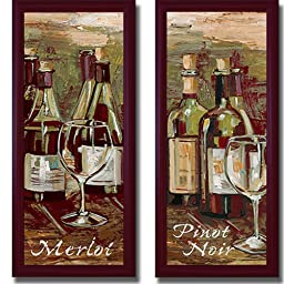 Merlot and Pinot Noir by Heather French-Roussia 2-pc Premium Contemporary-Mahogany Framed Canvas Set (Ready-to-Hang)