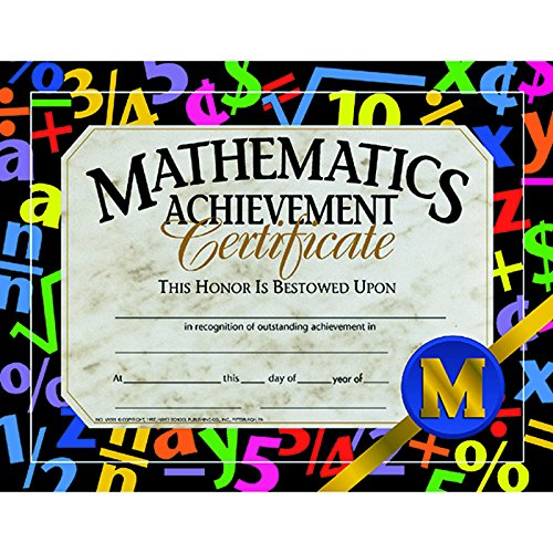 Hayes Math Achievement Certificate, 8-1/2 X 11 in, Paper, Pack of 30 - 1