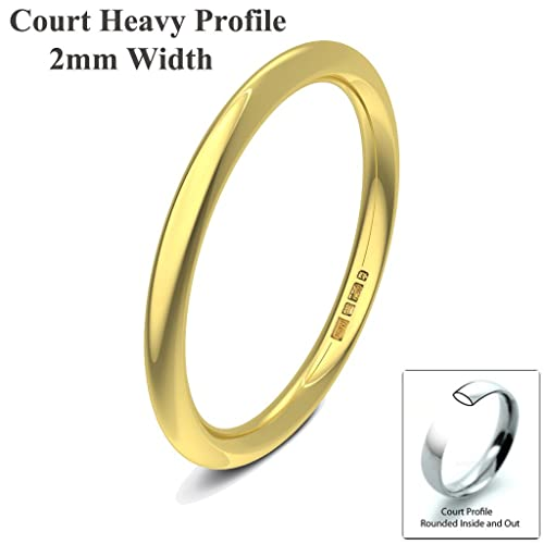 Xzara Jewellery - 18ct Yellow 2mm Heavy Court Profile Hallmarked Ladies/Gents 2.3 Grams Wedding Ring Band