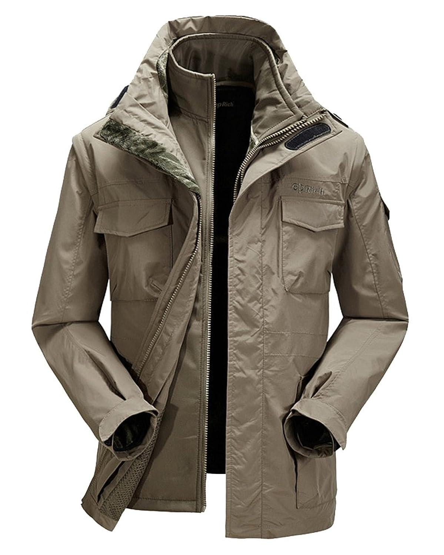 Molly Herren Warm Removable Kapuzen Zwei Stücke Jacket Mantel Khaki günstig kaufen