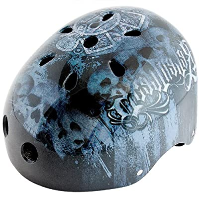 Kids Boys Children Bicycle Cycle Bike BMX Helmet 56 - 60 cm Graffiti Colour: Black-Blue by Relaxdays