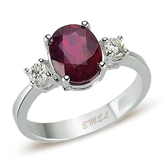 3.03 Carats 18k Solid White Gold Ruby and Diamond Engagement Wedding Bridal Promise Ring Band
