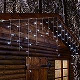 Stalattite 2,7 x 0,8 m, 66 led bianchi, effetto flashing, cavo trasparente, luci di Natale, luci per balconi. decorazioni luminose