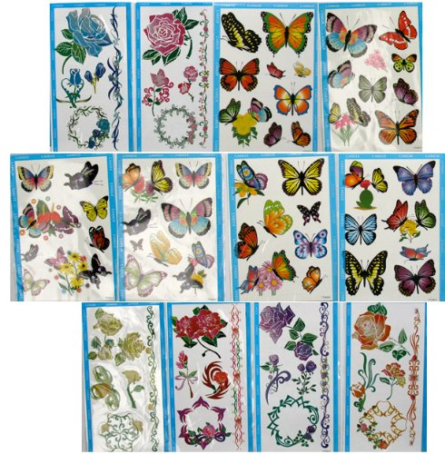 Flower Butterfly Temporary Tattoos (12 Large Packs) Girls Removable Tattoos