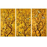 Nava 3pcs Painting Birds Golden Tree Of Happiness Love Fortune Canvas Wall Posters