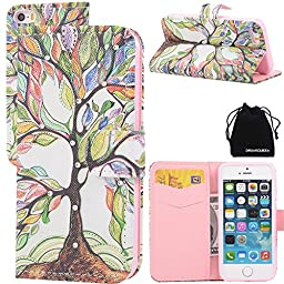 iPhone 5 5s Case, DRUnKQUEEn® Leather Wallet Case Back Cell Phone Shell Skin Magnetic Flap Cover with Credit Card Holder for Apple iPhone 5/5s