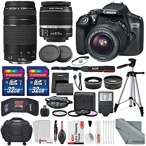 Canon-EOS-Rebel-T6-DSLR-Camera-with-EF-S-18-55mm-f35-56-IS-II-Lens-EF-75-300mm-f4-56-III-Lens-64GB-along-with-Fibertique-Cleaning-Cloth-and-Xpix-cleaning-Kit-and-Deluxe-Accessory-Bundle