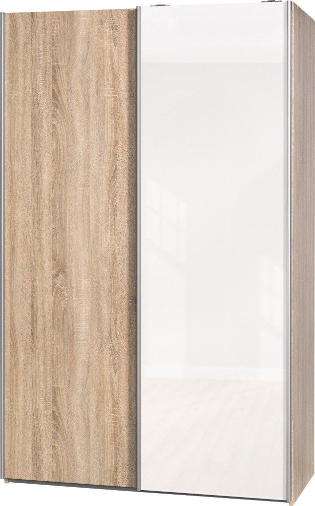 Schwebetürenschrank Soft Plus Smart Typ 42″, 120 x 194 x 61cm, Eiche/Eiche/Weiß hochglanz