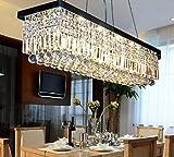 "Siljoy L39.5"" X W10"" X H10"" Clear K9 Crystal Modern Chandelier Black Rectangle Frame Base Pendant Lighting"