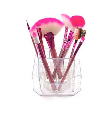 2Pcs, Transparent,Noir Rangement de Stylos Porte-crayon,Organisateur de Pinceaux de Maquillage,Multifonction Pot /à Crayons en Plastique Rangements,Rangement de Bureau