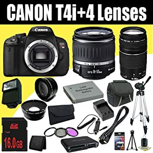 Canon EOS Rebel T4i 18 MP CMOS Digital SLR Camera w/EF-S 18-55mm f/3.5-5.6 IS Lens + EF 75-300mm f/4-5.6 III Telephoto Zoom Lens + LP-E8 Replacement Lithium Ion Battery w/External Rapid Charger + 16GB SDHC Class 10 Memory Card + 58mm Wide Angle Lens + 58mm 2x Telephoto Lens + 58mm 3 Piece Filter Kit + Mini HDMI Cable + Carrying Case + Full Size Tripod + External Flash + Multi Card USB Reader + Memory Card Wallet + Deluxe Starter Kit DavisMAX Bundle