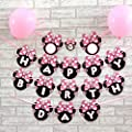Efivs Arts Cartoon Minnie Bow Happy Birthday Party Supplies Decoration Banner(Round)