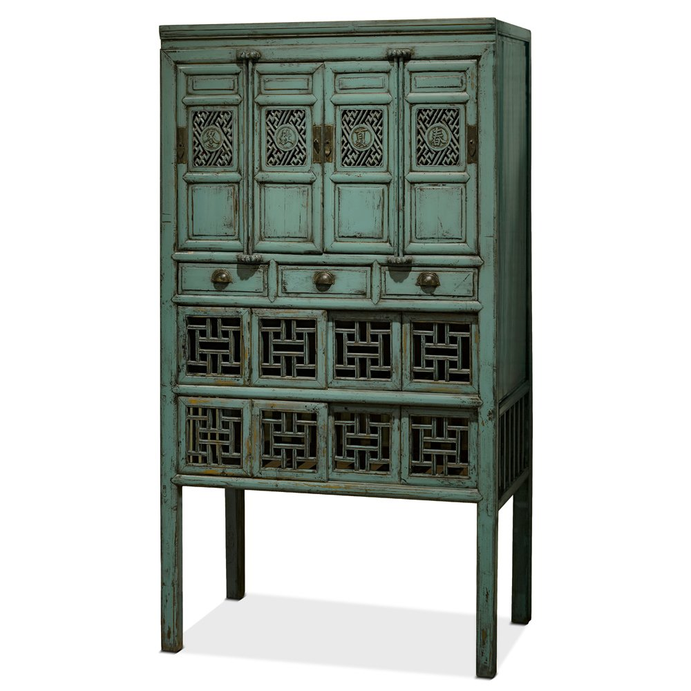 China Furniture Online Kitchen Cabinet, Antique Window Style Cabinet Distressed Blue Finish 0