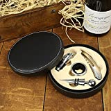 Harbour Bay 4-pc Wine Tool Set Leather Round Case- Black (MSRP:)