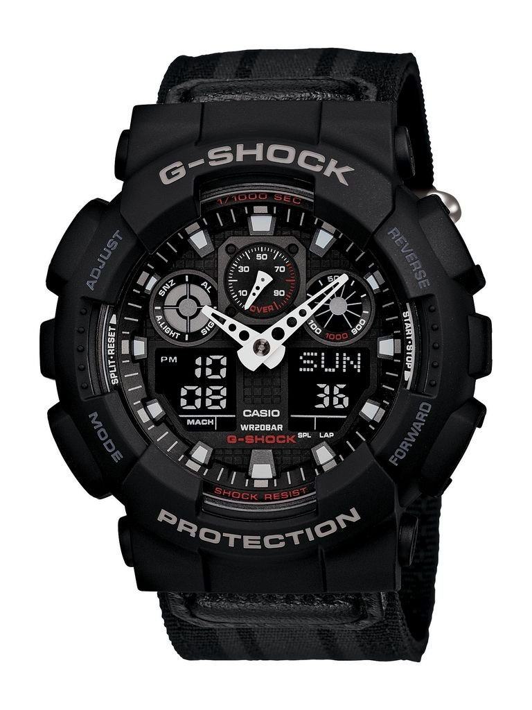 G-Shock GA-100MC-1ACR Nylon Strap Classic Series Men's Quality Watch - Black / One Size