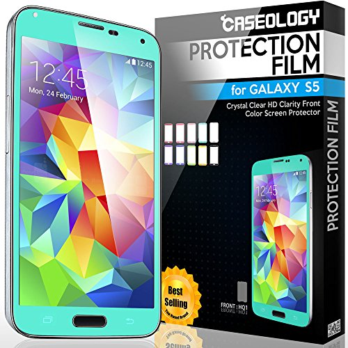 [2-Pack] Caseology Samsung Galaxy S5 [Crystal Clear] Front Protection Hd Clarity Color Screen Protector [Turquoise Mint] + [Lifetime Warranty] [Made In Korea] (For Verizon, At&T Sprint, T-Mobile, Unlocked)