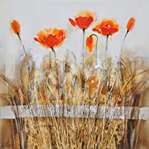 Yosemite Home Decor FCB4516-1 Poppies in the Field Orange Red I Hand Painted Abstract Wall Art