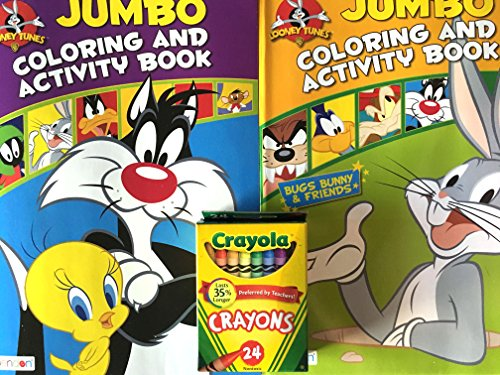 looney-toons-coloring-books-8-x-11-inch-96-pages-each-pack-of-2-includes-a-24-piece-box-of-crayola-c