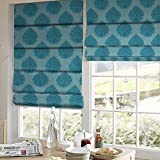 Presto Bazaar Blue Damask Jacquard Window Blind (60 Inch X 44 Inch)