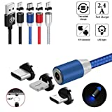 UGI 3 in 1 Magnetic Charging Cable for Micro USB Type C USB C 6.6ft Nylon Braided Charging Cord Compatible with Android Samsung S6,S7,S8,LG,HTC,Huawei Phone Xs Xr X 8 7 6 Plus,All Phone Devices (Color: Blue, Tamaño: Magnetic Cable)