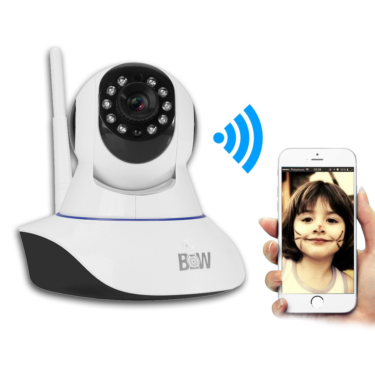 HD Wireless WiFi IP Camera Home Security Surveillance Camera Baby Pet Monitor Rotatable Alarming Security System with Night Vision