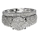 10K White Gold Bridal Wedding Set With Diamonds Pave Set 5.77mm (1/2 cttw, i2/i3 Clarity)
