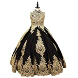 gsunmmw Gold Lace Flower Girl Dresses for Wedding Beaded Pageant Ball Gown First Communion Dress for Girls GS098 (Color: Black, Tamaño: 14)