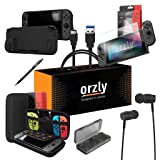 Switch Accessories, Orzly Essentials Pack for Nintendo Switch (Bundle Includes: Glass Screen Protectors, USB Charging Cable, Console Pouch, Cartridge Case, Comfort Grip Case, Headphones) - Black (Color: BLACK)