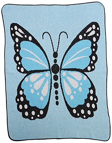 Green 3 Butterfly Kisses Throw Blanket, Blue