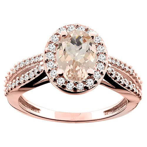 14ct Rose Gold Natural Morganite Ring Oval 8x6mm Diamond Accent 7/16 inch wide, size M
