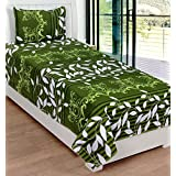 ZAIN GREEN MULTI COLOUR FLORAL COTTON SINGLE BED SHEET WITH ONE PILLOW COVER