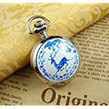 Blue Deer Pocket Watch,Blue Deer Necklace,chain watch,Vintage Silver Jewelry, (Color: Metal)