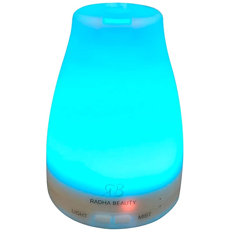 Radha Beauty Essential Oil Diffuser 7 colors - 120 ml Cool Mist Aroma Humidifier for Aromatherapy with changing Colored LED Lights, Portable, Waterless Auto Shut-off and Adjustable Mist mode via Amazon