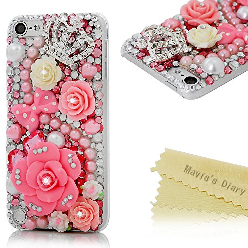 iPod Touch 5 Case - Mavis's Diary® 3D Handmade Bling Crystal Lovely Pink Flowers with Cute Bow Shiny Crown Sparkle Diamonds Rhinestone Clear Case Hard PC Cover For iPod Touch 5th Generation (Ipod 5 Cases Pink Gems compare prices)